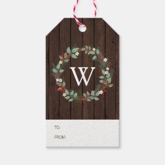 Rustic Woodland Holiday Wreath Monogram Gift Tag