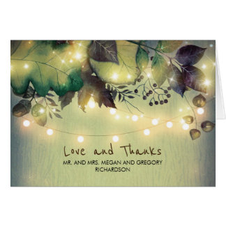 Rustic Woodland Leaves Wedding Thank You Card