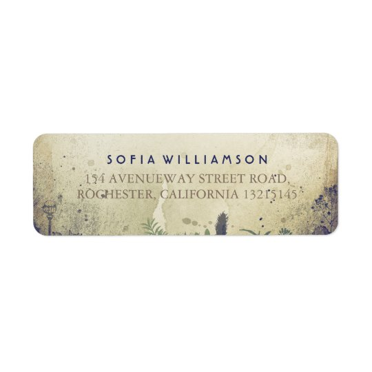 Rustic Woodland Navy Return Address Labels