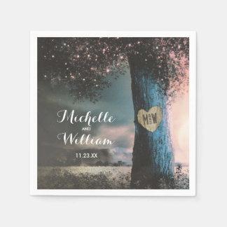 Rustic Woodland Old Tree Lights Wedding Paper Napkin