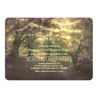 Rustic Woodland String Lights Trees Wedding 13 Cm X 18 Cm Invitation Card