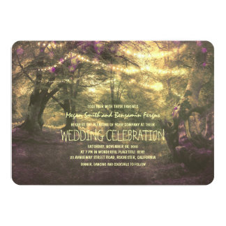 Rustic Woodland String Lights Trees Wedding 5x7 Paper Invitation Card