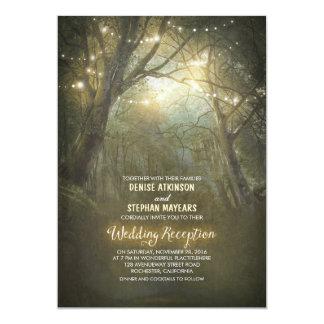 Rustic Woodland String Lights Wedding Reception Card