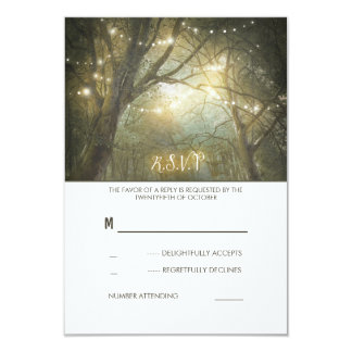 Rustic Woodland String Lights Wedding RSVP Card