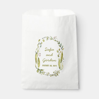 Rustic Woodland Watercolor Wreath Wedding Favour Bags