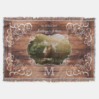 Rustic Woodland Wedding Photo Wood Panel Monogram