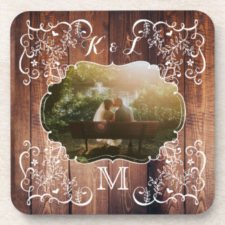 Rustic Woodland Wedding Photo Wood Panel Monogram Coaster
