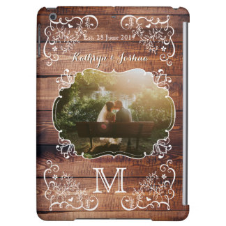 Rustic Woodland Wedding Photo Wood Panel Monogram iPad Air Case