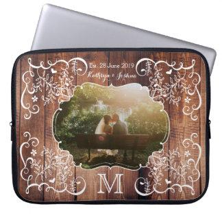 Rustic Woodland Wedding Photo Wood Panel Monogram Laptop Sleeve