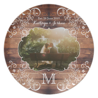 Rustic Woodland Wedding Photo Wood Panel Monogram Party Plates
