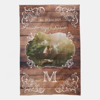 Rustic Woodland Wedding Photo Wood Panel Monogram Tea Towel
