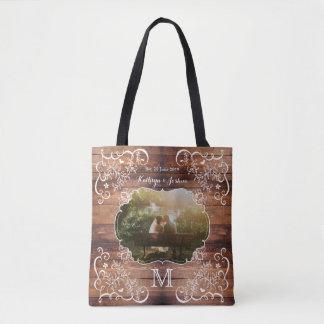 Rustic Woodland Wedding Photo Wood Panel Monogram Tote Bag