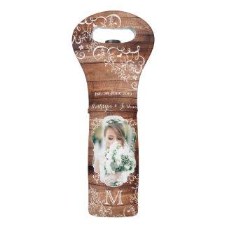 Rustic Woodland Wedding Photo Wood Panel Monogram Wine Bag
