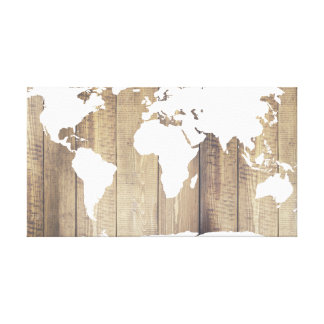 Rustic World Explorer White World Map Wood Planks Canvas Print
