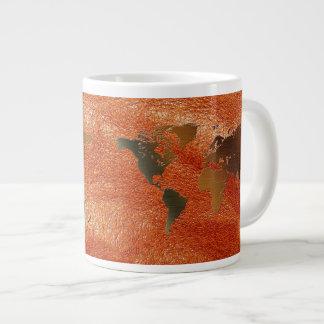 Rustic World Map on Faux Leather Jumbo Soup Mug Jumbo Mug