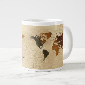 Rustic World Map on Parchment Jumbo Soup Mug Jumbo Mug