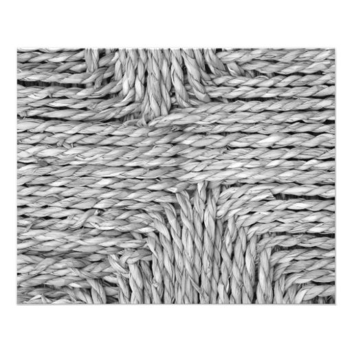 Rustic Woven Pattern Black and White Image Flyers