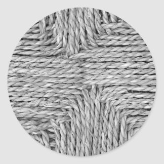 Rustic Woven Pattern Black and White Image Round Sticker