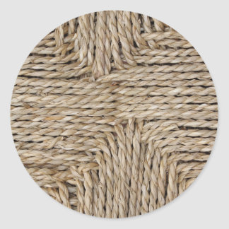 Rustic Woven Pattern Image. Round Sticker