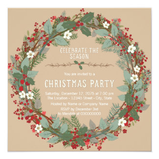 Rustic Wreath Christmas Party 13 Cm X 13 Cm Square Invitation Card