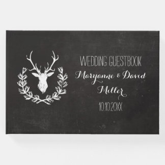 Rustic Wreath Deer Chalkboard Wedding Guest Book