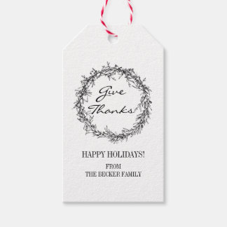 Rustic Wreath Give Thanks Thanksgiving Gift Tags