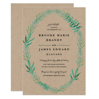 Rustic Wreath Greenery Wedding Invitation