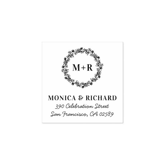 Rustic Wreath Monogram Wedding Return Address Rubber Stamp