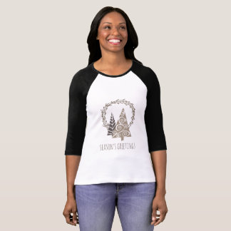 Rustic Wreath Season's Greetings Christmas T-Shirt