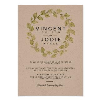 Rustic Wreath Watercolor Wedding Invite