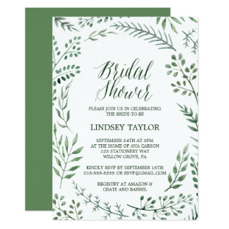 Rustic Wreath with Green Leaves Bridal Shower Card
