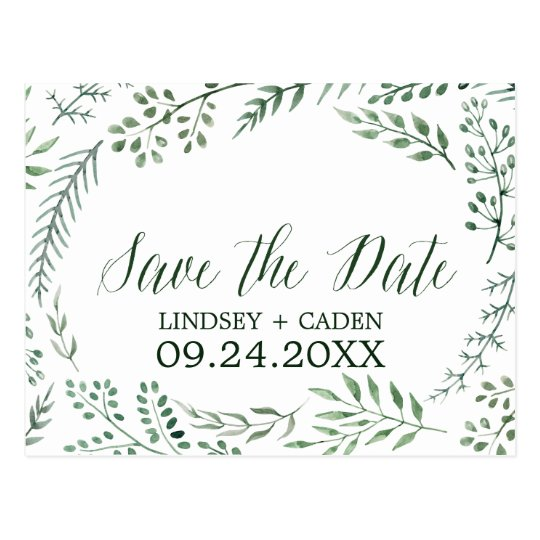Rustic Wreath with Green Leaves Save the Date
