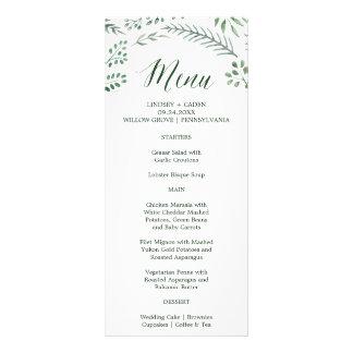 Rustic Wreath with Green Leaves Wedding Menu Card Rack Card