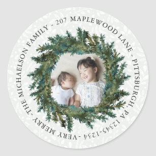 Rustic Wreath with Photo and Return Address Classic Round Sticker