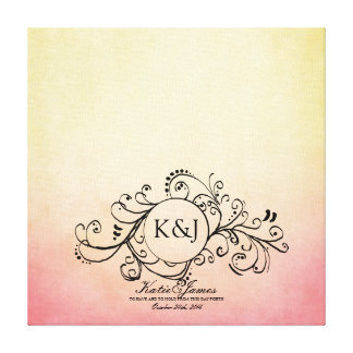 Rustic Yellow and Pink Bohemian Guest Book Canvas Gallery Wrapped Canvas