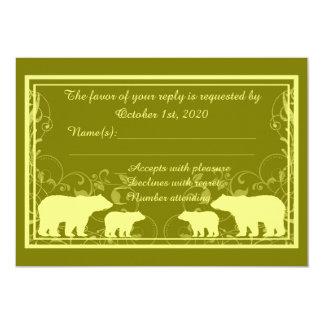 Rustic yellow bear swirl custom RSVP cards 13 Cm X 18 Cm Invitation Card
