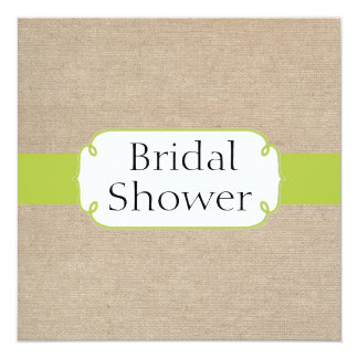 Rustic Yellow Green and Beige Burlap Bridal Shower 5.25x5.25 Square Paper Invitation Card