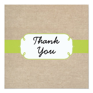 Rustic Yellow Green & Beige Burlap Thank You Card 13 Cm X 13 Cm Square Invitation Card