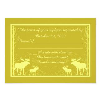 Rustic yellow moose swirl custom RSVP cards 13 Cm X 18 Cm Invitation Card