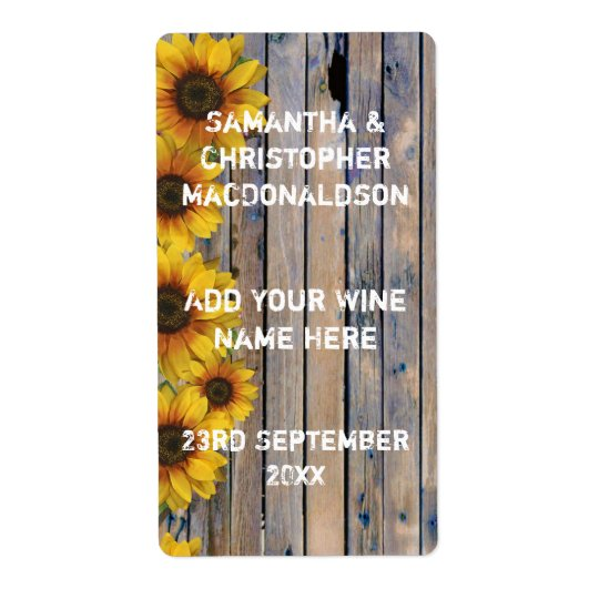Rustic yellow sunflower country floral wine shipping label