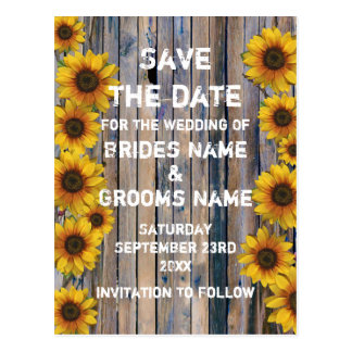 Rustic yellow sunflower country save the date postcard