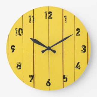 Rustic Yellow Wood Planks Large Clock