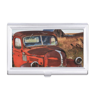 Rusting orange Dodge truck with abandoned farm Business Card Holder