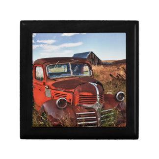 Rusting orange Dodge truck with abandoned farm Gift Box