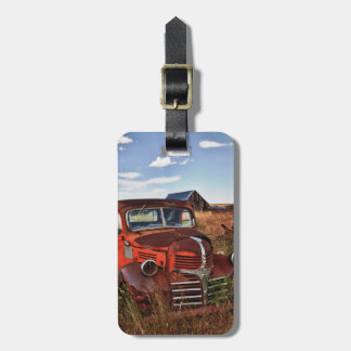 Rusting orange Dodge truck with abandoned farm Luggage Tag