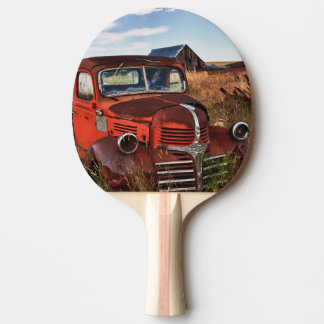 Rusting orange Dodge truck with abandoned farm Ping Pong Paddle
