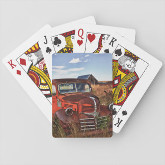 Rusting orange Dodge truck with abandoned farm Playing Cards