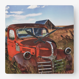 Rusting orange Dodge truck with abandoned farm Square Wall Clock