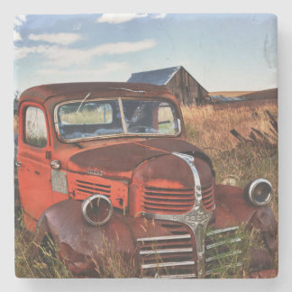 Rusting orange Dodge truck with abandoned farm Stone Coaster