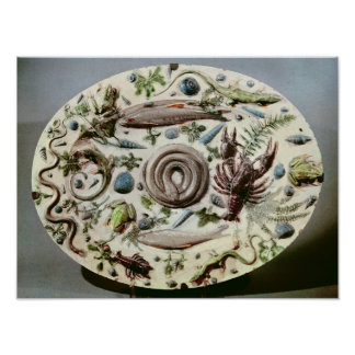 Rustique Figuline' dish with a white background Poster